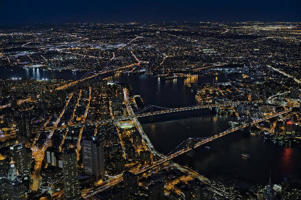Photograph - Brooklyn Manhattan And Williamsburg Bridges Aerial View by Susan Candelario