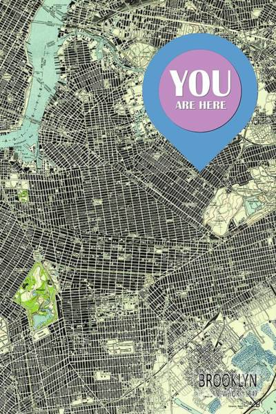 New Trend Digital Art - Brooklyn New York 1947 Old Map You Are Here by Drawspots Illustrations