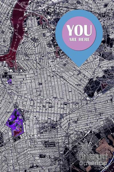 Wall Art - Digital Art - Brooklyn New York 1947 You Are Here Sign by Drawspots Illustrations