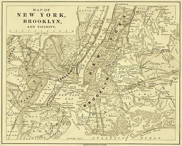 Photograph - Brooklyn Ny 1868 Map New York Ny Sepia by Toby McGuire