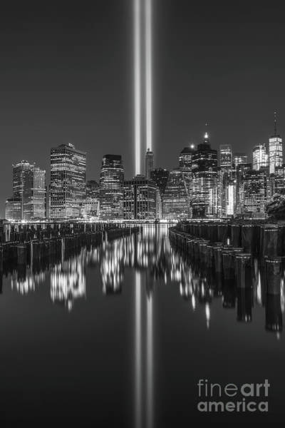 Wall Art - Photograph - Brooklyn Pier Tribute In Light Bw by Michael Ver Sprill
