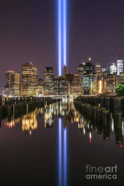 Wall Art - Photograph - Brooklyn Pier Tribute In Light  by Michael Ver Sprill