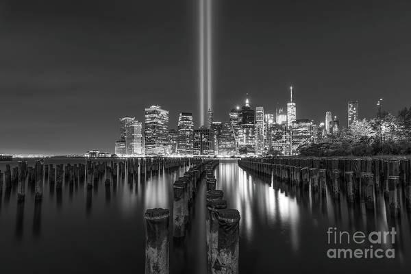September 11 Attacks Photograph - Brooklyn Sticks September 11th Memorial Bw by Michael Ver Sprill