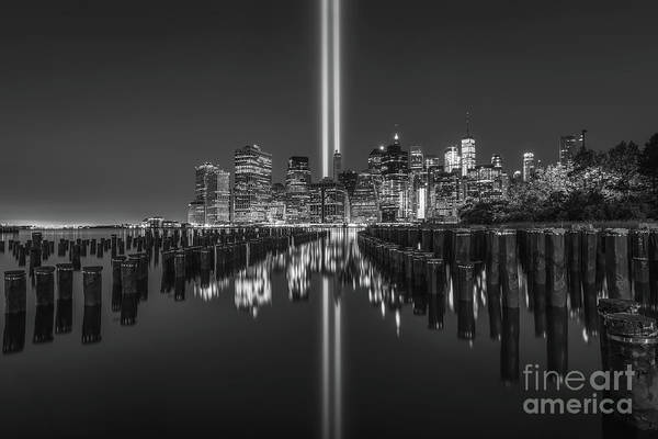 Wall Art - Photograph - Brooklyn Sticks Tribute In Light Bw by Michael Ver Sprill