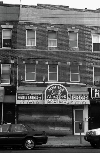 Photograph - Brooklyn Storefront And Apartments 2001 Bw by Frank Romeo
