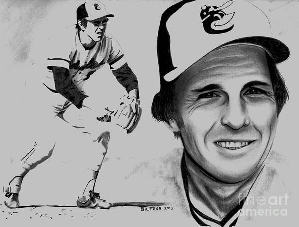 Oriole Drawing - Brooks Robinson by Gil Fong