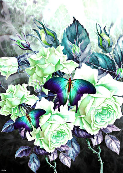 Lime Mixed Media - Roses And Butterflies by G Berry