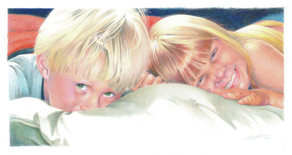 Brother And Sister Wall Art - Drawing - Brother And Sister by Todd Baxter