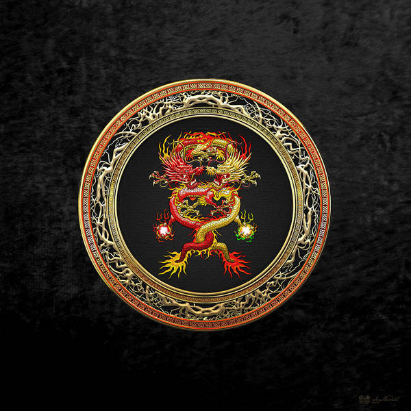 Digital Art - Brotherhood Of The Snake - The Red And The Yellow Dragons On Black Velvet by Serge Averbukh