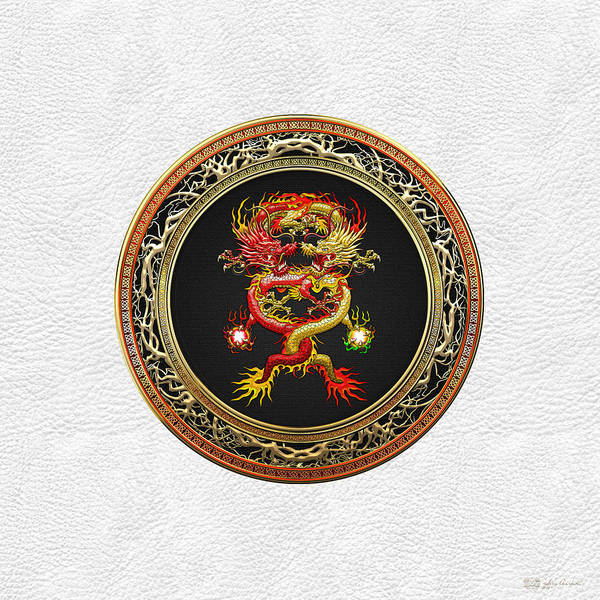 Digital Art - Brotherhood Of The Snake - The Red And The Yellow Dragons On White Leather by Serge Averbukh