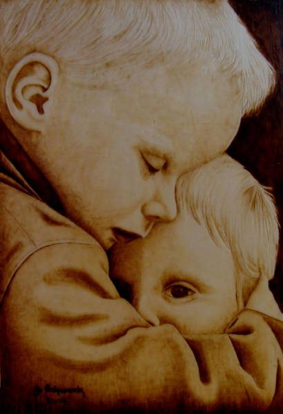 Pyrography Wall Art - Pyrography - Brotherly Love by Jo Schwartz
