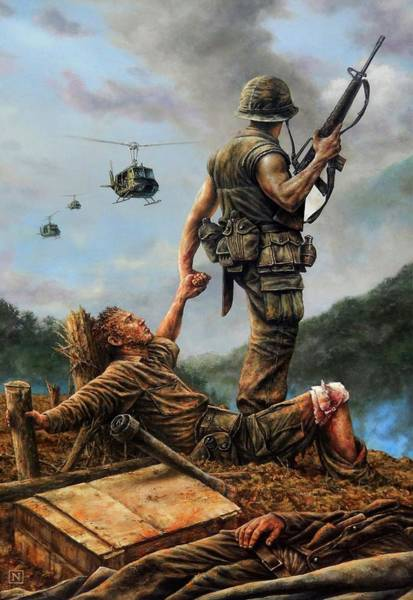 Helicopter Painting - Brothers In Arms by Dan Nance