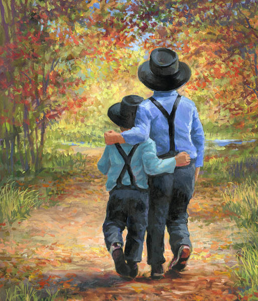 Country Living Painting - Brothers by Laurie Snow Hein