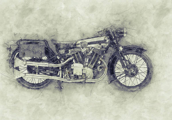 Wall Art - Mixed Media - Brough Superior Ss100 - 1924 - Motorcycle Poster 1 - Automotive Art by Studio Grafiikka