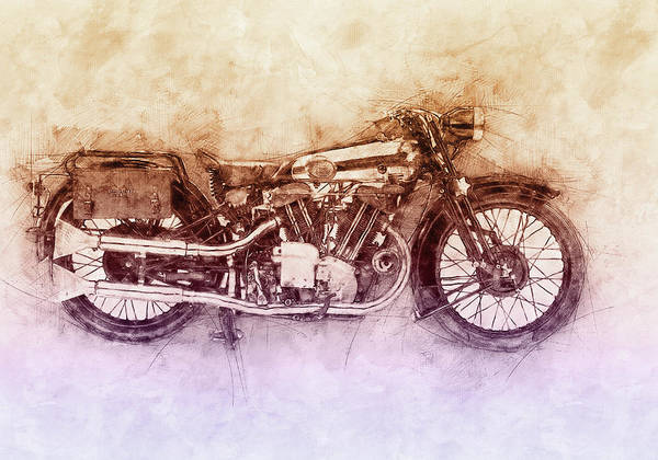 Wall Art - Mixed Media - Brough Superior Ss100 - 1924 - Motorcycle Poster 2 - Automotive Art by Studio Grafiikka