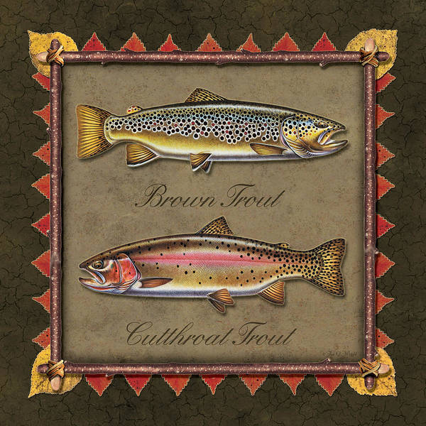 Painting - Brown And Cutthroat Trout by JQ Licensing