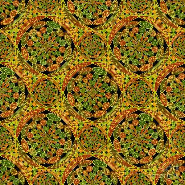 Quilt Digital Art - Brown And Green Circles by Gaspar Avila