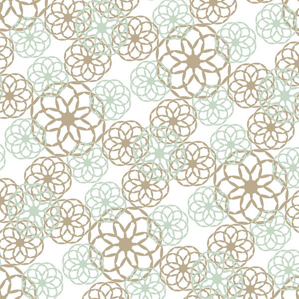 Mixed Media - Brown And Green Floral Pattern by Christina Rollo