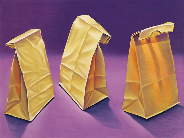 Wall Art - Painting - Brown Bag Trio by Gema Lopez