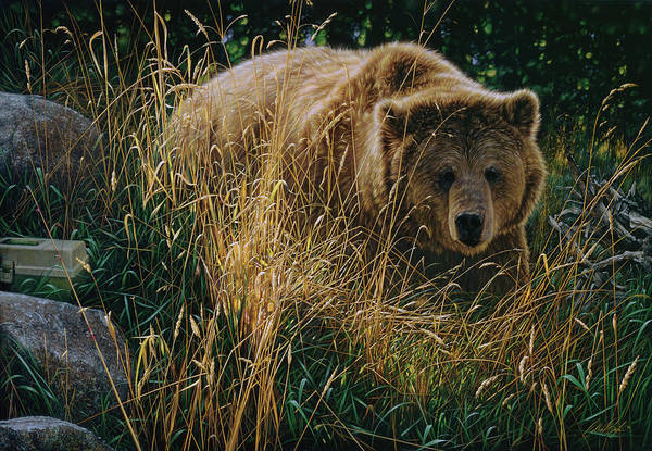 Grizzlies Mixed Media - Brown Bear - Crossing Paths by Collin Bogle