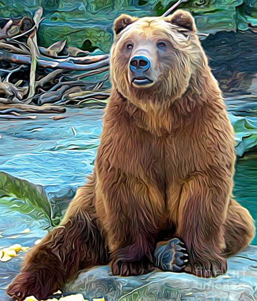 Mixed Media - Brown Bear Expressionist Effect by Rose Santuci-Sofranko