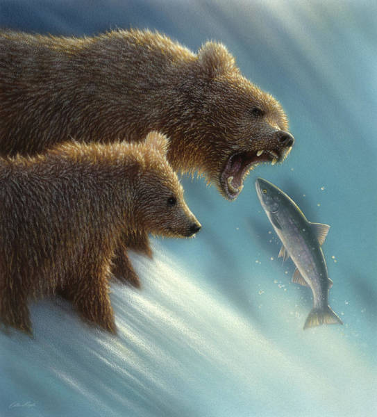 Grizzlies Mixed Media - Brown Bears - Fishing Lesson by Collin Bogle