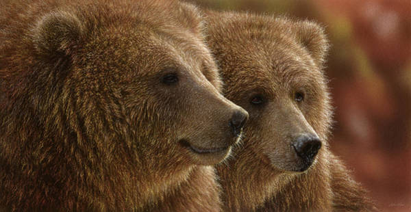 Grizzlies Mixed Media - Brown Bears - Lazy Daze by Collin Bogle