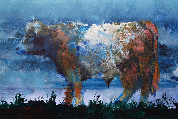 Painting - Brown Belted Galloway Cow by Mike Jory