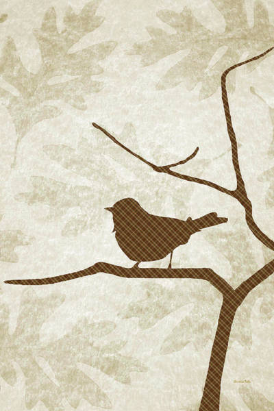 Woodland Animals Mixed Media - Brown Bird Silhouette Modern Bird Art by Christina Rollo