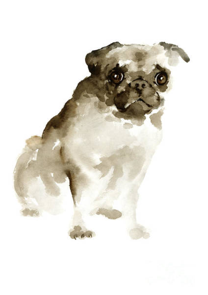 Wall Art - Painting - Pug Dog Wall Art, Brown Dog Portrait, Pet Wall Decor  by Joanna Szmerdt