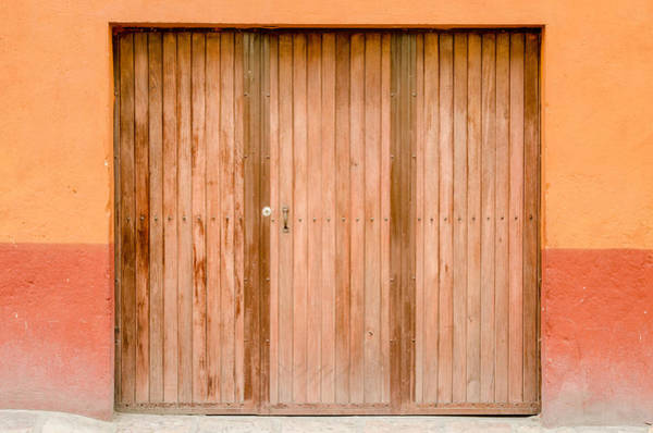 Photograph - Brown Door, Orange Wall by Rob Huntley