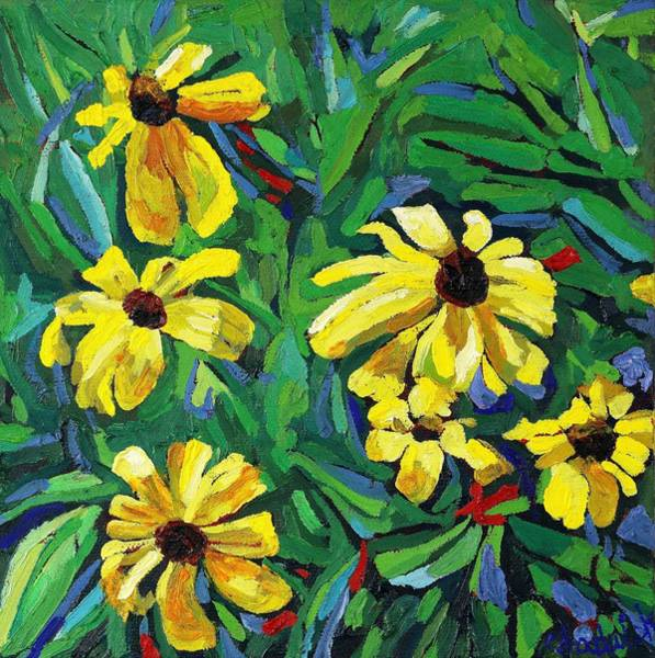 Canoeist Wall Art - Painting - Brown-eyed Susans by Phil Chadwick