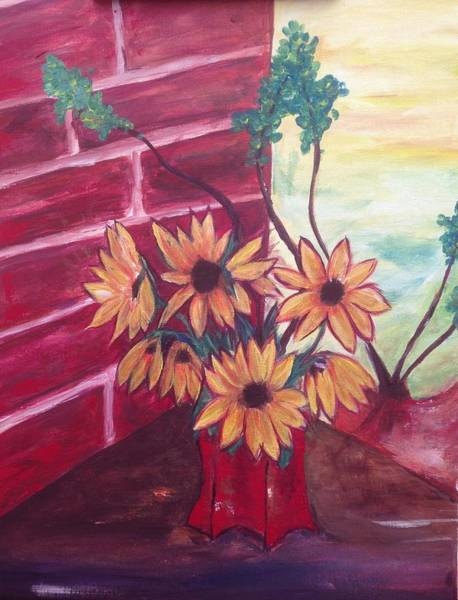 Abstract Painting - Brown Eyed Susans by Roxy Rich
