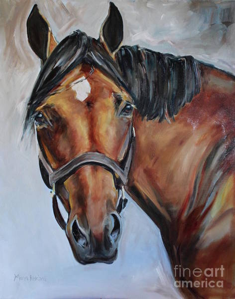 Aqha Painting - Brown Horse by Maria's Watercolor