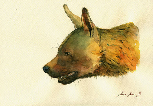 Wall Art - Painting - Brown Hyena by Juan  Bosco