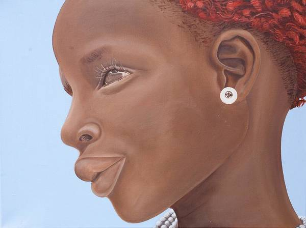 Braid Painting - Brown Introspection by Kaaria Mucherera