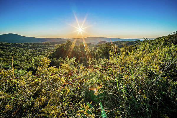 Photograph - Brown Mountain Sunrise  Overlook Of Route 181 North Carolina by Alex Grichenko