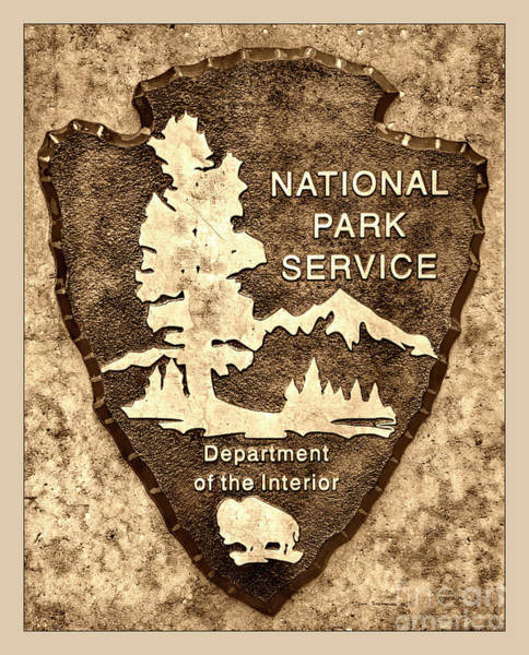 Wall Art - Photograph - Brown National Park Service Logo by John Stephens