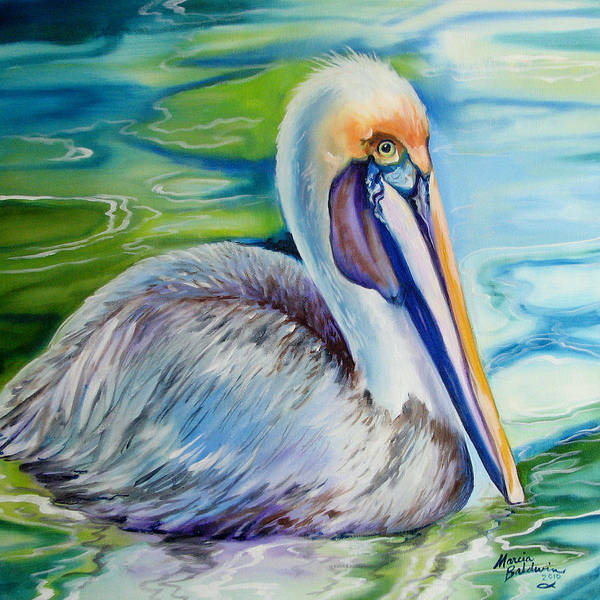 Louisiana Wall Art - Painting - Brown Pelican Of Louisiana by Marcia Baldwin