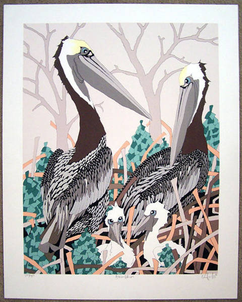 Wall Art - Painting - Brown Pelicans  by Dan Goad