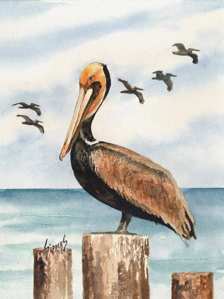 Brown Pelicans Wall Art - Painting - Brown Pelicans by Sam Sidders