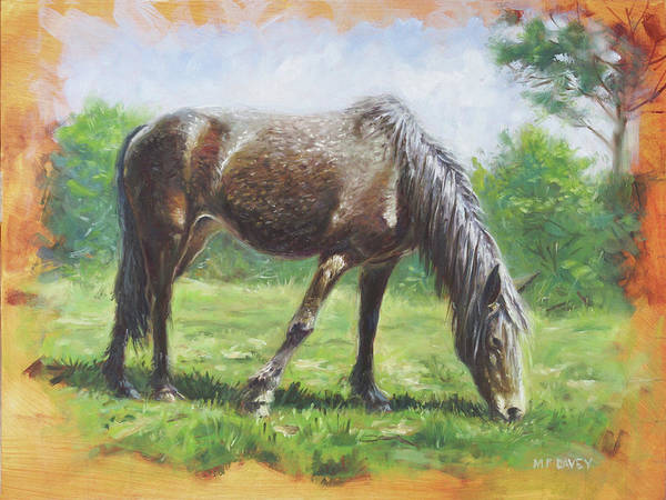Painting - Brown Standing Horse Eating by Martin Davey