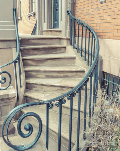 Photograph - Walkup Brownstone Stairs Providence Rhode Island by Edward Fielding