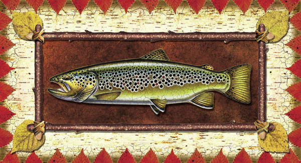 Fly Fishing Painting - Brown Trout Lodge by JQ Licensing
