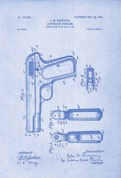 Artful Drawing - Browning Automatic Firearm Patent Drawing 1903 Blueprint Inverse by Patently Artful