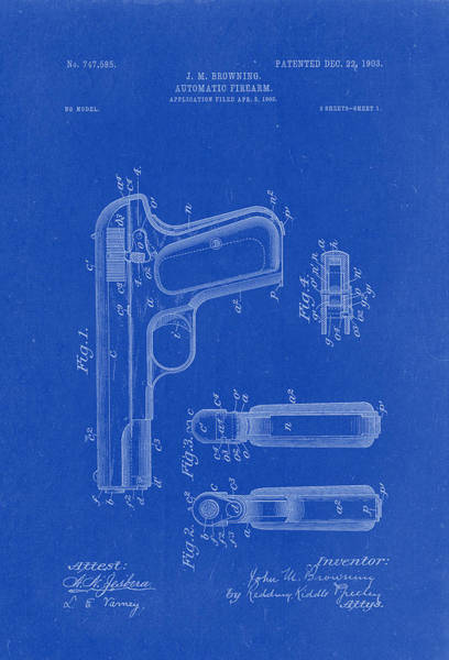 Artful Drawing - Browning Automatic Firearm Patent Drawing 1903 Blueprint by Patently Artful