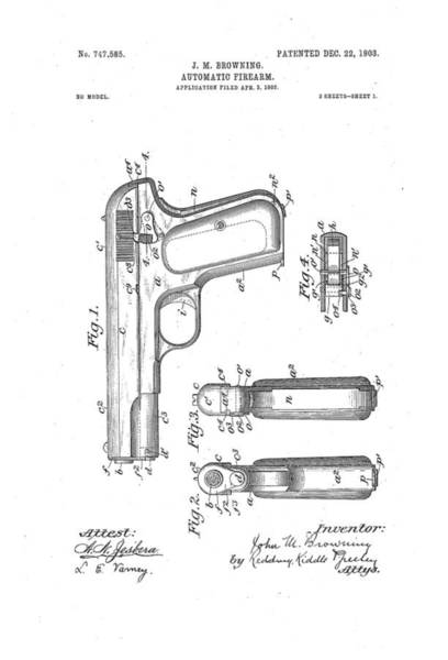 Artful Drawing - Browning Automatic Firearm Patent Drawing 1903 Bw by Patently Artful