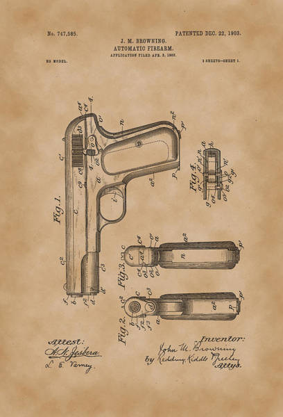 Artful Drawing - Browning Automatic Firearm Patent Drawing 1903 Vintage by Patently Artful