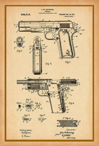 Digital Art - Browning Pistol Patent by Carlos Diaz