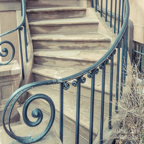 Photograph - Brownstone Staircase Square by Edward Fielding